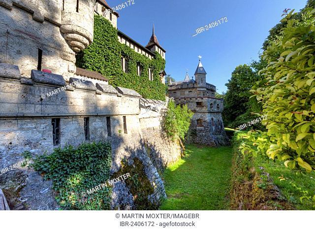 Schloss Lichtenstein Castle, Honau, Baden-Wuerttemberg, Germany, Europe, PublicGround