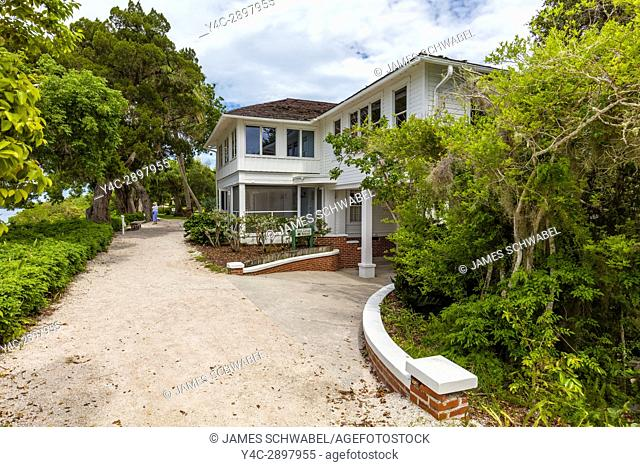 White Cottage at Historic Spanish Point on the Gulf Coast of Florida in Osprey Florida