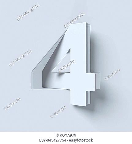 Cut out and rotated font 3d rendering number 4