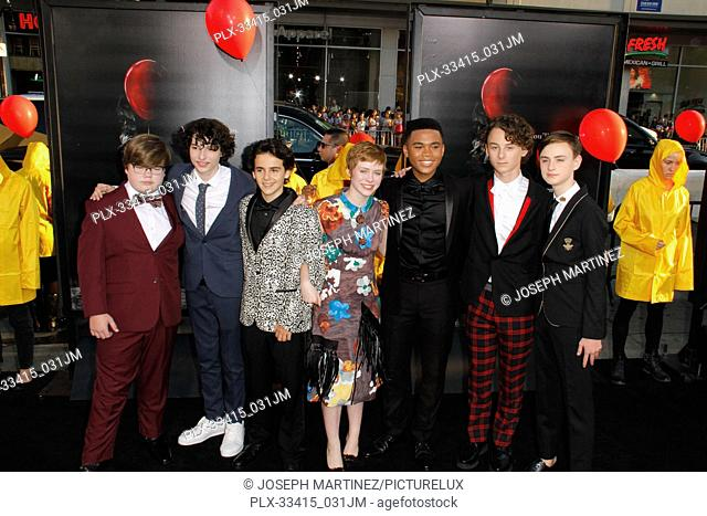 """Jeremy Ray Taylor, Finn Wolfhard, Jack Dylan Grazer, Sophia Lillis at the World Premiere of New Line Cinema's """"""""It"""""""" held at the TCL Chinese Theater in..."""