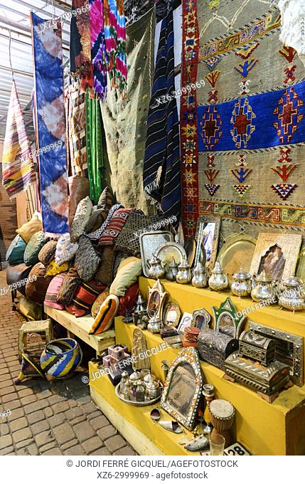 Typical stand in the souk of Marrakech, Medina of Marrakesh, Morocco, Africa