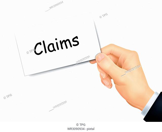 claims card in hand isolated over white background