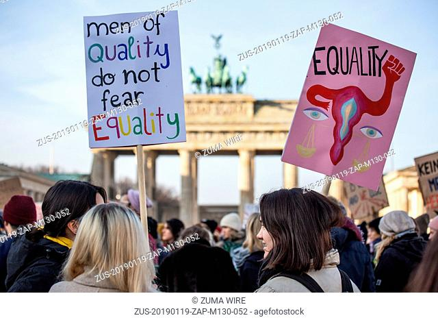 January 19, 2019 - Berlin, Germany - Demonstrators, some holding banners, take part in the 2019 Woman's March in Berlin, Germany, January 19, 2019
