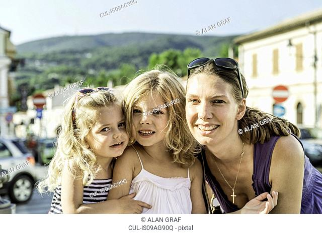 Mother and daughters on vacation