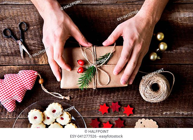 Christmas composition on a vintage wooden background. Flat lay