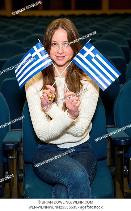 Sandra von Ruffin is promoting the upcoming Greek Film Festival Hellas Filmbox Berlin at a photo shoot at Babylon movie theatre