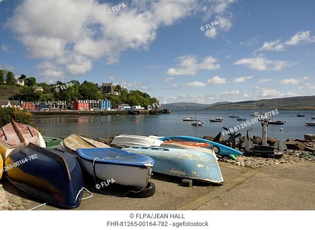 View of boats and anchors on waterfront of coastal town, Tobermory, Tobermory Bay, Isle of Mull, Inner Hebrides, Scotland, may