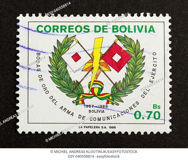 BOLIVIA - 1988: Stamp printed in Bolivia shows a local symbol, 1988