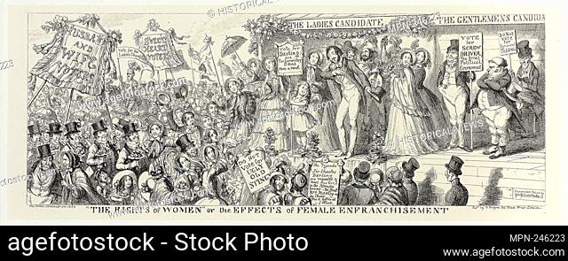 """""""""""""""""""""""The Rights of Women"""""""" or the Effects of Female Enfranchisement from George Cruikshank's Steel Etchings to The Comic Almanacks: 1835-1853 - 1853, printed c"""