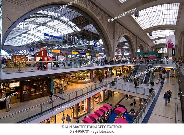 Interior view of Leipzig Railway station in Germany