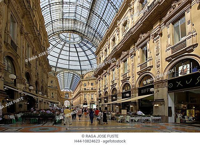 Italy, Europe, Milan, Galleria Vittorio Emanuele II, stores, shops, dealings