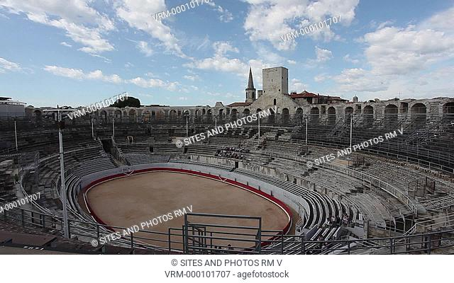 Locked Down Shot, HA, daylight. The bullring arena in the ancient Roman amphitheater. This is among the most ancient amphitheater of the Roman world