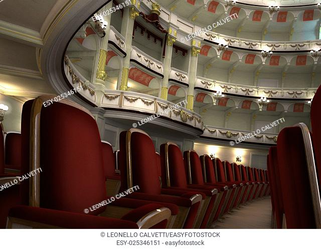 Classic Theater interior, with chair rows in the foreground