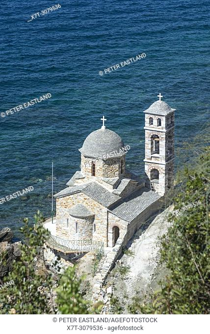 A chapel on The Southwest coast of the Athos peninsula, near Docheiariou monastery Macedonia, Northern Greece