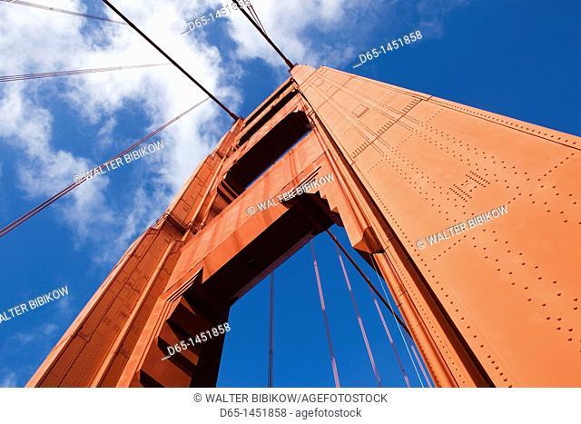 USA, California, San Francisco, The Presidio, Golden Gate National Recreation Area, Golden Gate Bridge, detail