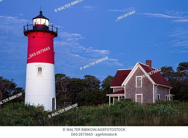 USA, Massachusetts, Cape Cod, Eastham, Nauset Lighthouse, dawn