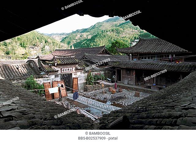 Rooftop of houses around courtyard, Taishun County, Zhejiang Province, People's Republic of China
