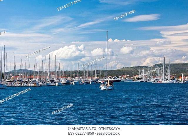 Yacht is entering in Marina Frapa, Rogoznica, Croatia