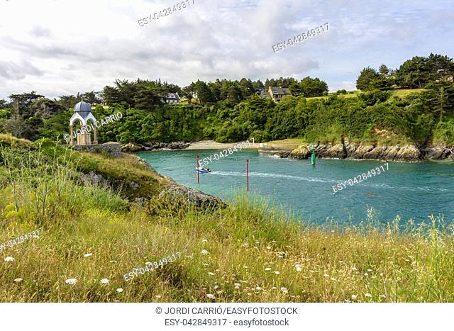 View of the inlet of the river La Flora in the route along the coastal path between the port of Dahouët to Pléneuf-Val-André on the Côtes-d'Armor in French...