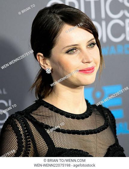 Celebrities attend 20th Annual Critics' Choice Movie Awards - Arrivals at Hollywood Palladium. Featuring: Felicity Jones Where: Los Angeles, California