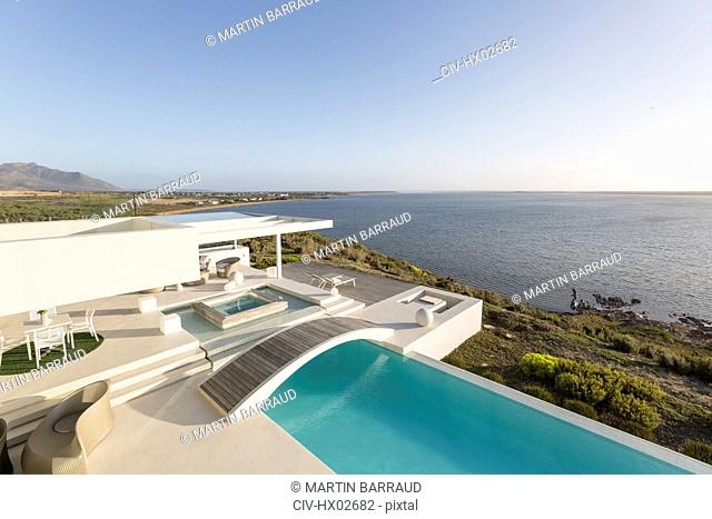 Sunny, tranquil modern luxury home showcase exterior with infinity pool and ocean view