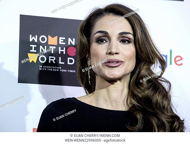 Celebrities attends Women in the World Summit in Sloane Square, London. Featuring: Queen Rania of Jordan Where: London, United Kingdom When: 08 Oct 2015 Credit:...