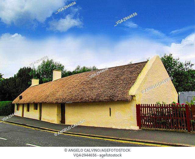 Robert Burns Cottage, The Poet was born in 1759 and died in 1796 when he was only at 37,5 years old, Alloway, Ayr, Ayrshire, Scotland, UK