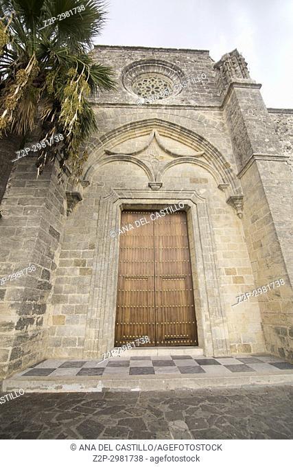 Vejer de la Frontera white village in Cadiz province , Andalusia, Spain. Church of Divino Salvador