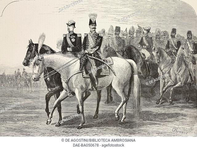 Shah of Iran, Naser al-Din Shah Qajar and the President of the Republic, Patrice de MacMahon riding horses in Longchamps, Bois de Boulogne parade, France