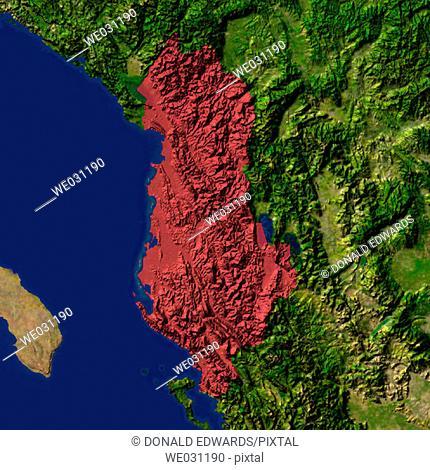 Highlighted satellite image of Albania