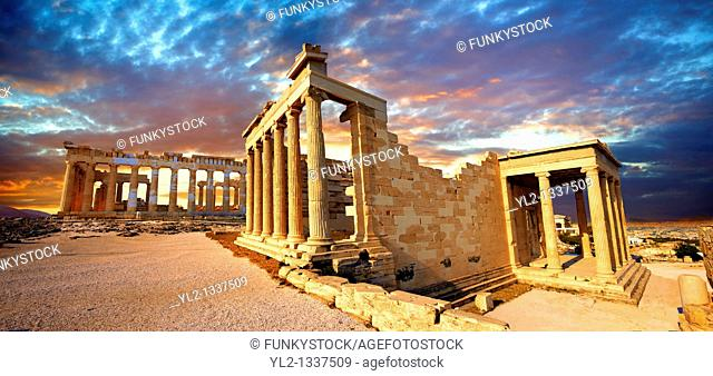 The Erechtheum Temple, the Acropolis of Athens in Greece