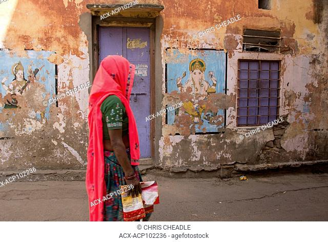 Amer street scene, , with Murals, Rajastan, India