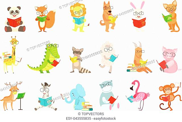 Cute Animal Characters Reading Books Set. Childish Cartoon Style Humanized Animals Vector Stickers Isolated On White Background