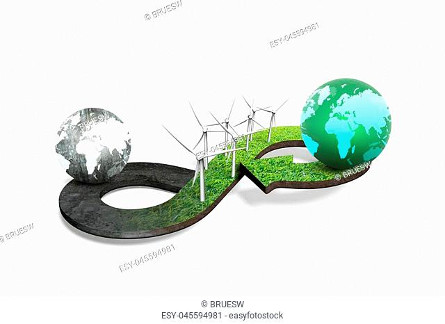 Green circular economy concept. Arrow infinity symbol of grass texture with wind turbines and two globes of different colors, isolated on white background