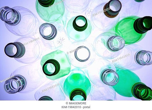 Empty plastic bottles , high angle view, full frame