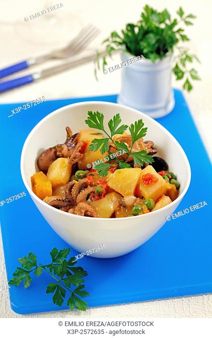 Fresh vegetables with octopus