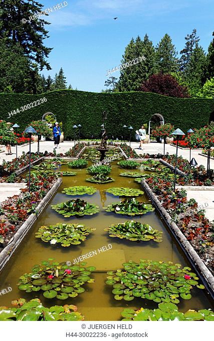 Italian garden in The Butchart Gardens near Victoria on Vancouver Island, Canada, North America