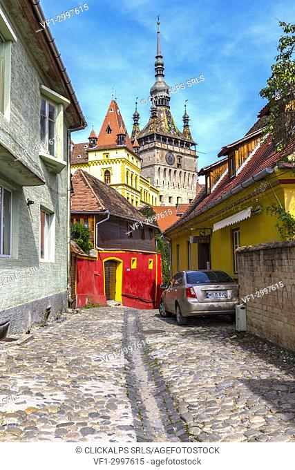 Clock Tower of Medieval Citadel in Sighisoara village, Mures district, Transylvania, Romania
