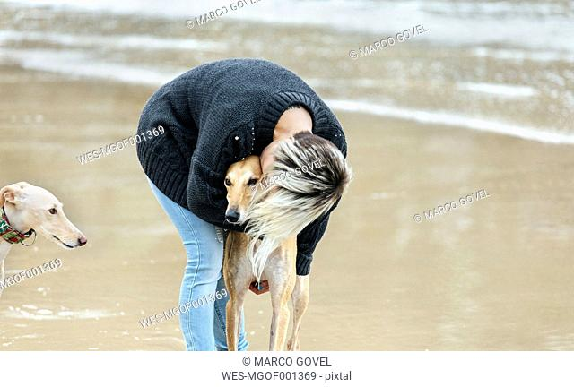 Spain, Llanes, young woman kissing her greyhound on the beach