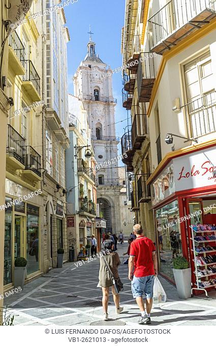 Malaga, Spain. San Juan church seen from Calle San Juan
