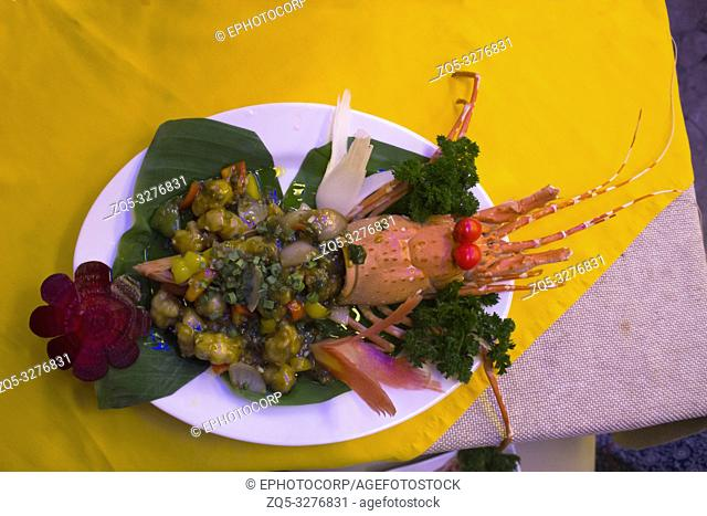 Prpared yummy lobster in dish, India