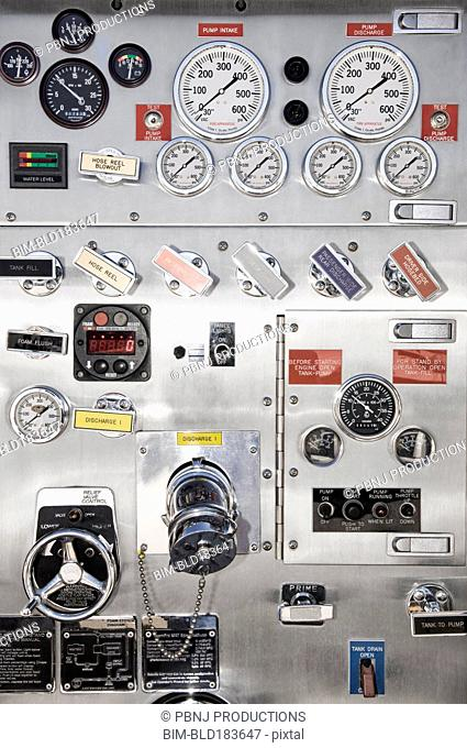 Close up of control panel gauges