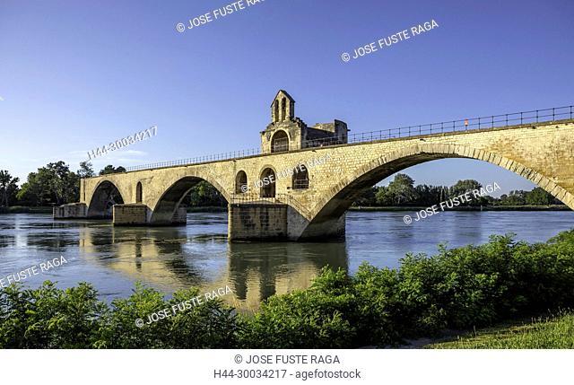 France, Provence region, Avignon city, St. Benezet Bridge, W.H., Rhone river