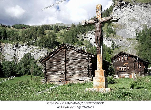Switzerland, Valais, Val d'Herens, village of Evolene in summer during the august festival