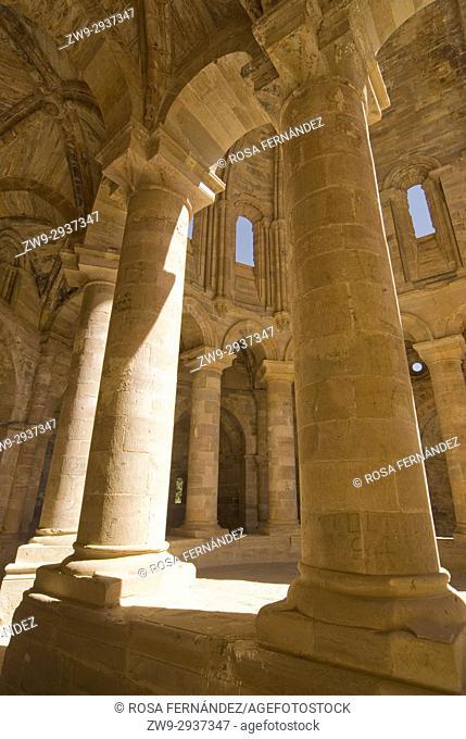 Ruins of Cistercian Monastery of Granja de Moreruela, Columns of the ambulatory and Apse, XII Century, Zamora, Castilla y Leon, Spain