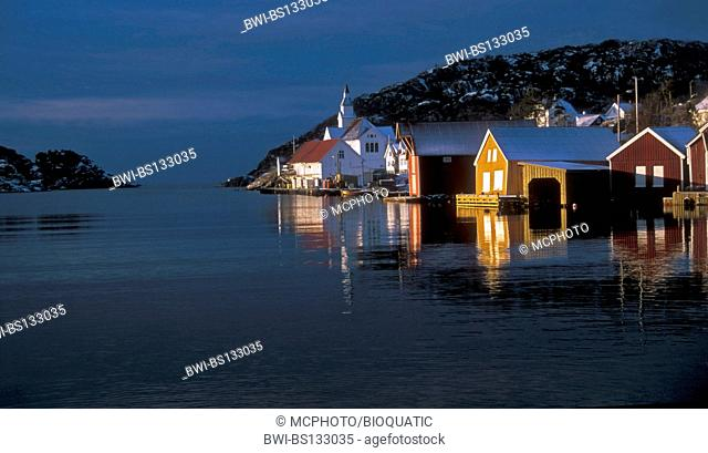 Mid-winter at Kirkehamn - a small traditional village on the western side of the island called Hidra, Norway, Vest-Agder, Hidra, Hidrasund