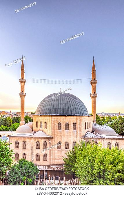 View of Mevlidi Halil Mosque,one of landmarks in Sanliurfa,Turkey. 18 July 2018