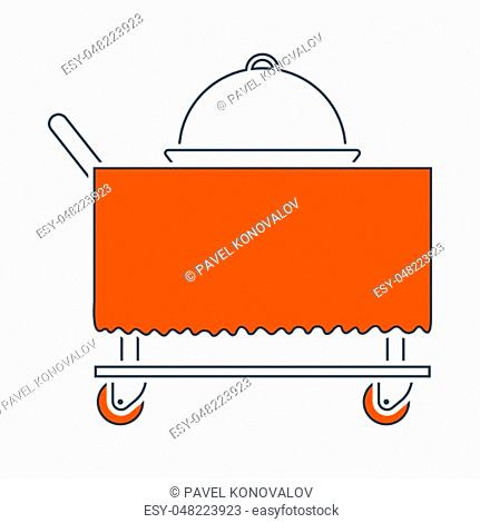 Icon Of Restaurant Cloche On Delivering Cart. Thin Line With Red Fill Design. Vector Illustration
