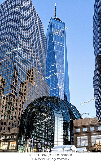 Looking Up at the Brookfield Center Mall, World Financial Center and One World Trade Center (Freedom Tower) in the Lower Manhattan Financial District, NYC