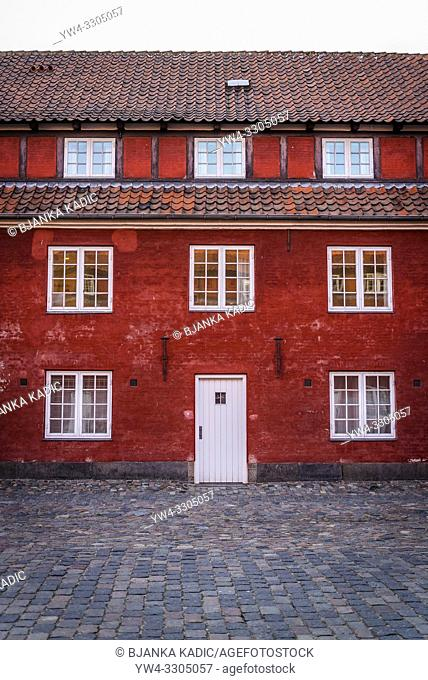 The Rows, two-storey terraces that served as soldiers barracks, Kastellet, Star-shaped 17th-century fortress with ramparts, Copenhagen, Denmark